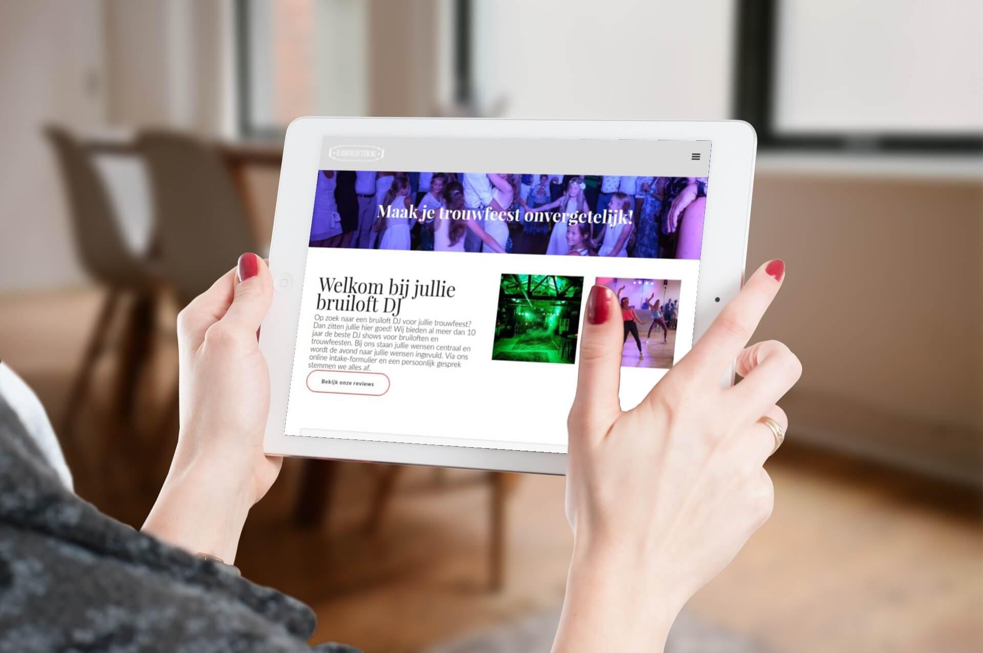 Djbruiloften.nl tablet