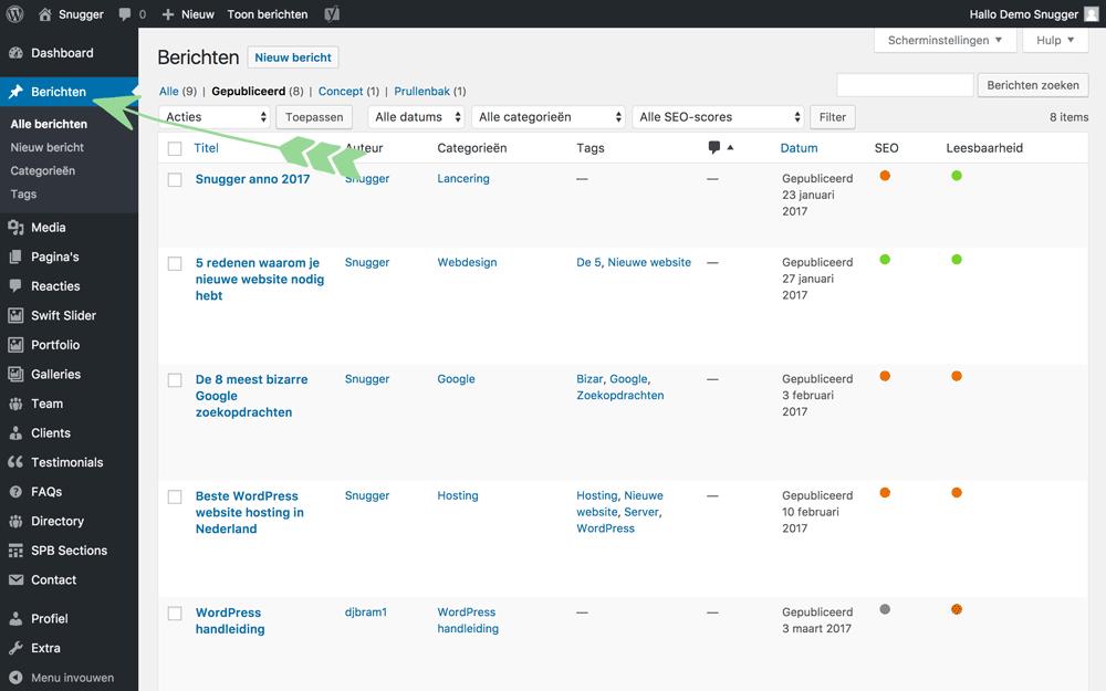 WordPress handleiding Overzicht van je berichten