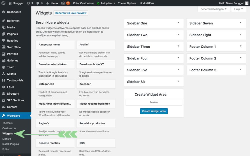 WordPress handleiding Widgets