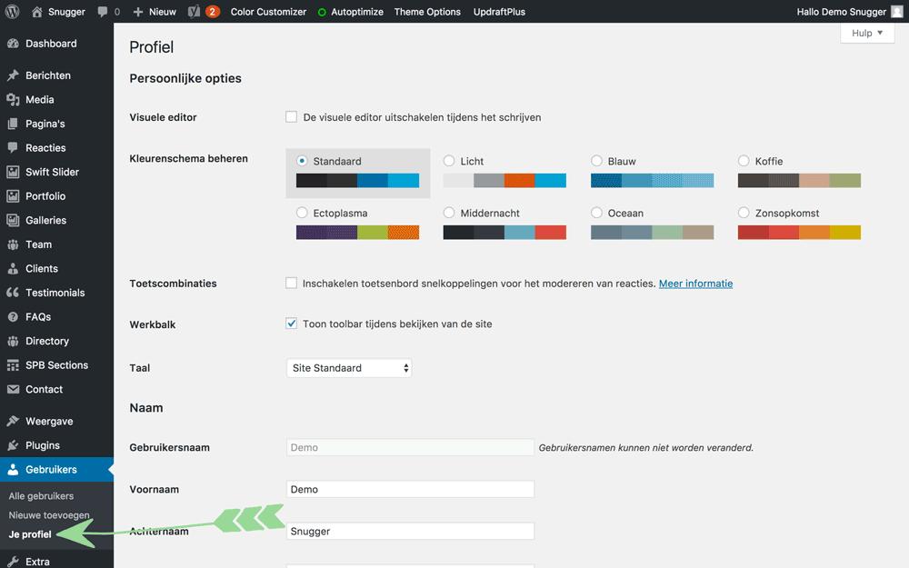 WordPress handleiding gebruikersinstellingen