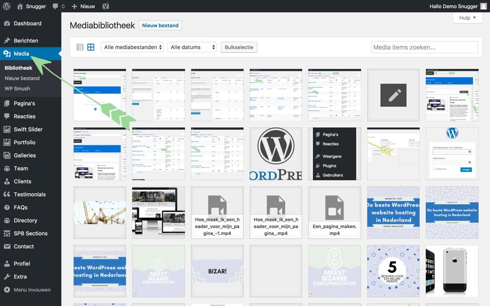 WordPress handleiding media pagina