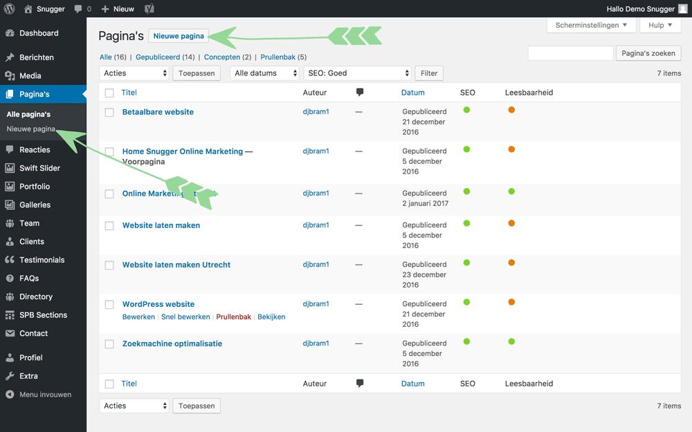 WordPress-handleiding-nieuwe-pagina