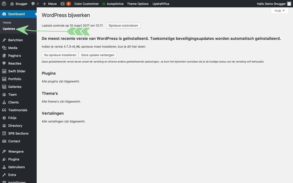 WordPress handleiding updates